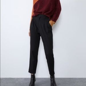 High waisted menswear pants in black